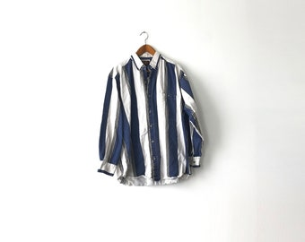 Thick 90s Striped Canvas Shirt - Large / Striped Shirt / Striped Button Shirt / Button Shirt / Striped Shirt / Thick Shirt / Striped Oxford