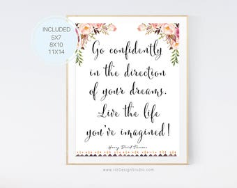 Graduation Gift, Go confidently in the direction of your dreams, Graduation Print, Gifts For Girls, Gifts For Boys, Gift Ideas, D87-10