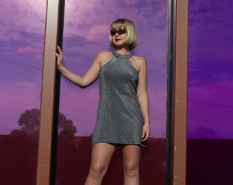 SALE! 90s Silver Disco Dress