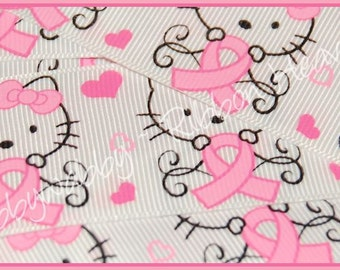 """3 Yards 1 1/2"""" Breast Cancer Support Kitty Pink Ribbon - TWRH"""