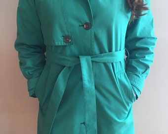 London Fog Trench Coat In Emerald (size 6 petite)
