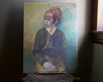 Vintage Painting, Portrait of Red Headed Girl, 60's Appeal