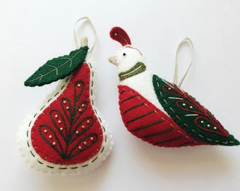 Handmade Partridge & Pear Christmas Tree Ornaments - with personalised embroidery
