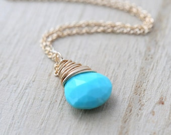 Sleeping Beauty Turquoise Necklace , Gold Filled Genuine Gemstone Pendant , Real Turquoise Dainty Layering Necklace