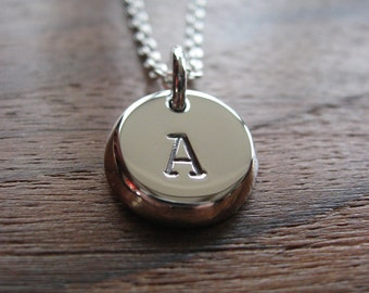 Silver Handmade Charm with Initials - Personalised Charm - Stamped Letter Pendant