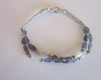 Vintage Sterling Silver Rock Crystal & Amethyst Bracelet