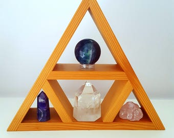 Wood Shelf || Display Shelf || Oregon Reclaimed || Small || Crystal Display || Triangle Shelf