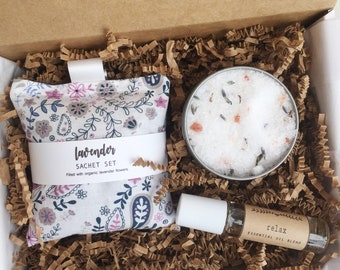 Lavender Gift Set, Spa Gift, Relaxation Gift, Stress Relief Gift, Pampering Gift for Her, Beauty Gift, Lavender Bath Salts, Lavender Sachets