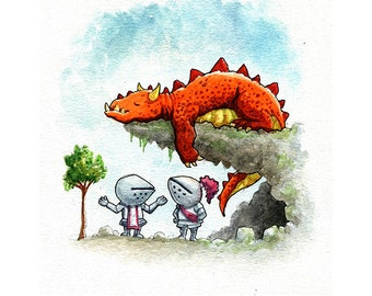 Sleeping Dragon Watercolor Print