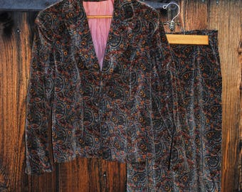 Ladies Skirt and Jacket Set Paisley Velvet Suit Made in England
