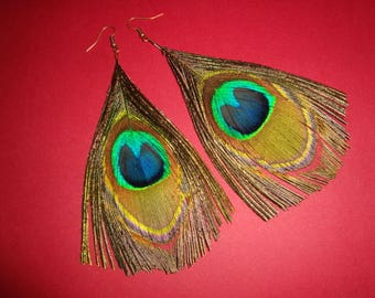 Peacock feather earrings (handmade)