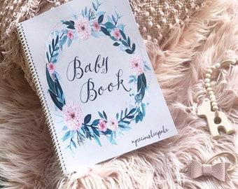Wildflower girls boho record milestone journal Baby Book floral bohemian floral pretty baby girl