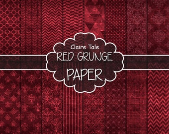 """Red digital paper: """"RED GRUNGE PAPER"""" with chevrons, crosshatch, stripes, damask, polka dots / red vintage paper / red shabby chic"""