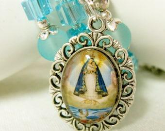 Blue clear crystal rosary wrap bracelet with Virgen De La Caridad Del Cobre medal - WB03-020