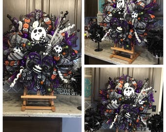 Halloween Wreath, Jack Skellington Wreath, Fall Wreath, Door Hanger, Wreath, Nightmare Before Xmas Wreath