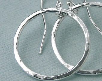 Hammered Ring Earrings - Fine Silver - Seven Eighths Inch