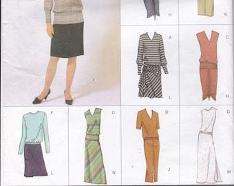 FREE US SHIP Vogue 2593 Sewing Pattern Uncut Size 6 8 10 Bust 30.5 31.5 32.5 Easy Option 8 Looks Top Skirt Dress Uncut Large Envelope