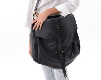 Oversized Black Leather Hobo Bag for Women, Large Handmade Slouchy Oversized Purse,silver Hardware, Crossbody, Carryall Handbag