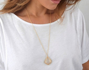 Big pendant necklace etsy gold drop necklace big pendant necklace long necklace gold fashion jewelry gold mesh necklace gold jewelry gifts for girlfriend mozeypictures Gallery