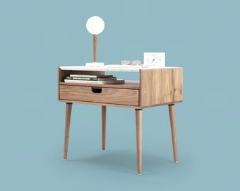 Nightstand / Bedside table in solid Walnut / Oak with marble top , mid century style