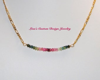 Watermelon Tourmaline Bead Bar Gold Filled Chain Necklace