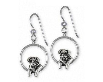 Pug Earrings Jewelry Sterling Silver Handmade Dog Earrings PG46-E