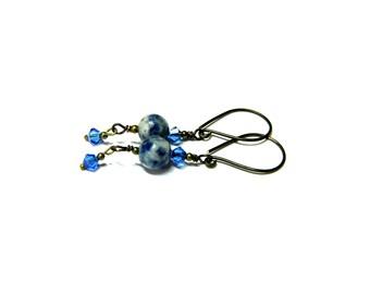Blue drop earrings, Sodalite Dangle Earrings, Crystal Earrings, Swarovski Earrings, Sodalite Earrings, petite Etsy earrings, gift for her