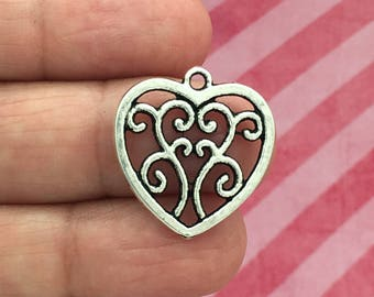 BULK 40 Silver Filigree Heart Charm Pendant 22x21mm by TIJC SP0121B