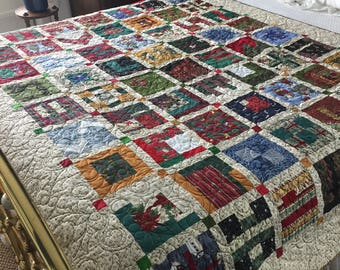Christmas patchwork twin quilt