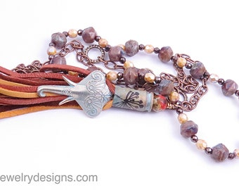 Long Tassel Ganesha Necklace Hindu Boho Necklace Bohemian Charm Rustic Jewelry Czech Glass Beaded Necklace