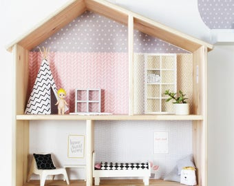 Wall decal Lille Stuba for the IKEA dollhouse Flisat pink/grey (1W-SH04-01) - DIY Doll's house - Furniture not included