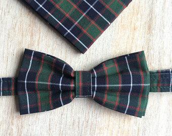 Bow tie + Pocket - green Plaid