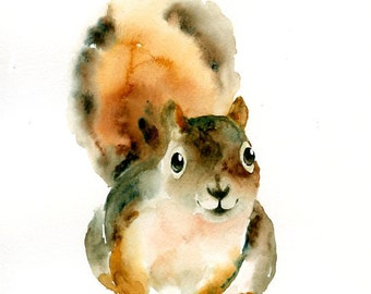 SQUIRREL  5x7inch Print -Kid's Wall Art -Nursery decor- Playroom Decor-Nursery wall art
