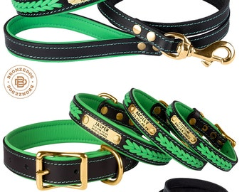 Dog Collar Leash Set Green Leather Soft Padded Personalized Custom Brass Hardware