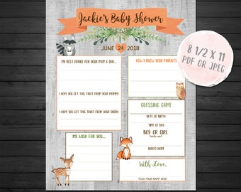 Woodland Forest Baby Shower Games Sheet, Forest Animals Baby Shower Diaper Messages, Wood Sign, Fox, Deer, Raccoon, Owl