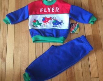 Vintage des années 1980 bébé bébé garçons hélicoptère Sweatsuit tenue! Taille 24 mois