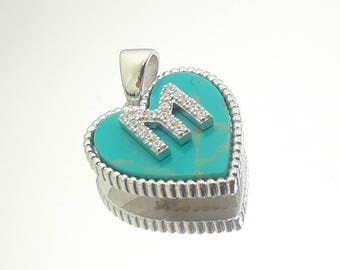 Sterling Silver Initial Pendant on Turquoise with Diamonique Stone