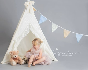 Lace teepee * Toddler teepee * Teepee photo prop * Cream teepee