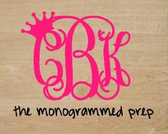 Monogram Car Decal with Crown  Monogram Car Sticker Princess Monogram Car Decal Sticker Vine Monogram Car Decal