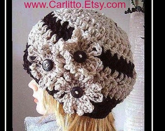 CROCHET hat  PATTERN  Hat, 30 minute hat crochet pattern,  CARLITTO adult hat, #112, crochet pattern hat,  instant download