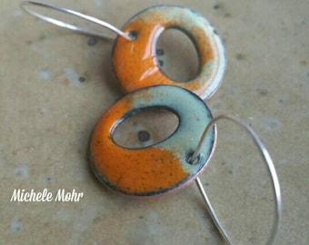 Abstract enamel hoop earrings