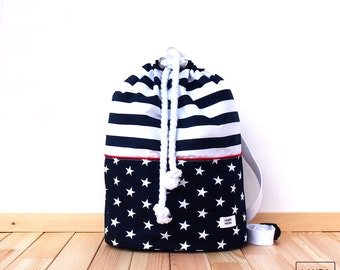 Backpack sailor of cotton with waterproof backing of stars and stripes / stripe & stars drawstring cotton inner waterproof backpack