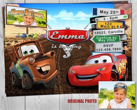 Cars Invitation - Cars Invite - Cars - Disney Cars - Cars Birthday - Lightning McQueen - Race Invitation - Race Invite - Cars Party - Mater