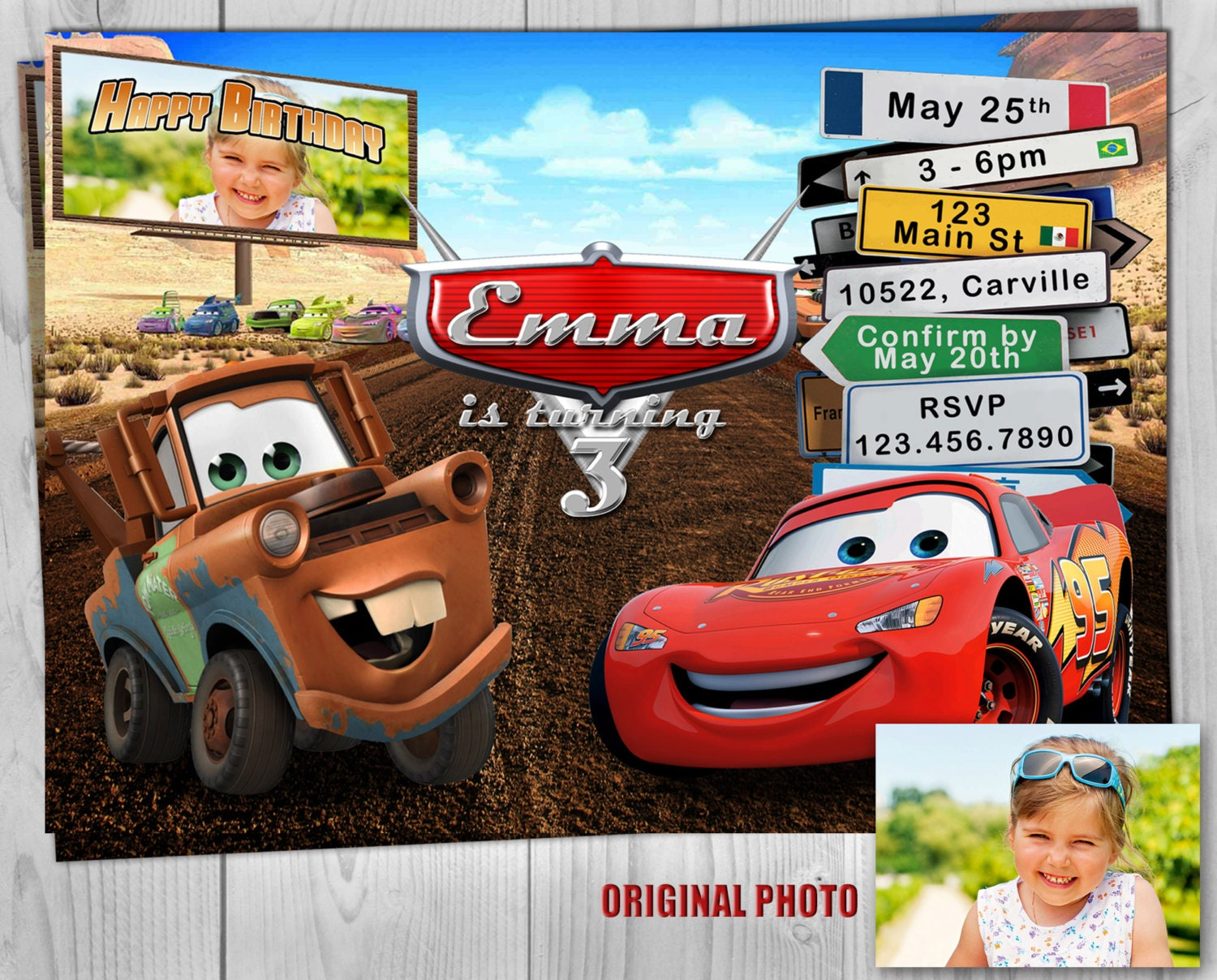 Cars Invitation, Disney Cars Birthday Invitate, Lightning McQueen ...