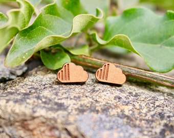 Wood Earrings | Minimalist Earrings | Cherry Wood Earrings | Natural Jewelry | Titanium Earrings | Gift for Mom | Gift for Her | Gift