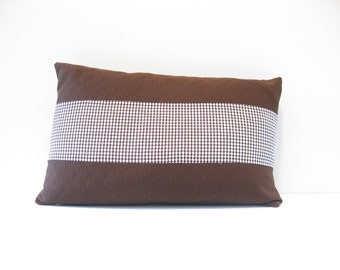 12x20 Brown check pillow cover
