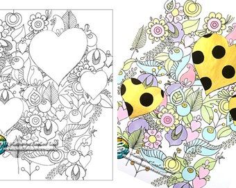 printable coloring page : 3 hearts doodles