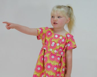 SALE!  Girl's Classic Double Breasted Dress, Girls Dresses, pink dress, toddler dresses, Childrens Clothing, Easter Dress, Size 6
