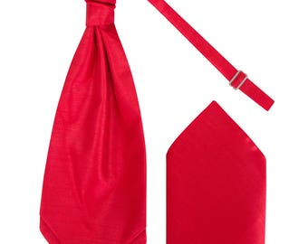 Mens Red Luxury Dupion Scrunchie Cravat with matching Pocket Square Pre-Tied