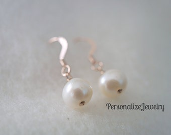 Single Pearl Earrings, Freshwater Pearl Earrings, Bridesmaid gift, Choice of sterling silver, rose gold, gold filled earrings.